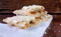 Wafer biscuit. On wood Stock Photos
