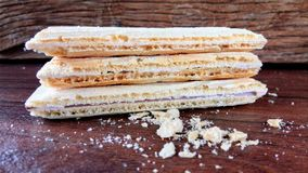 Wafer biscuit. On wood Royalty Free Stock Photography