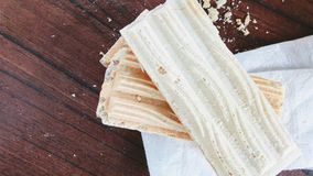 Wafer biscuit. On wood Stock Photo