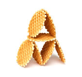 Wafer biscuits. Isolated on a white background Stock Photos