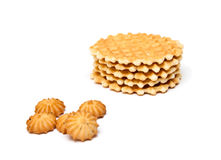 Wafer biscuits and cookie. Isolated on a white background Stock Images