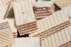 Wafer biscuits on a pile - macro shot Royalty Free Stock Images