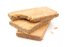 Wafer blocks with one bited on white background Stock Image