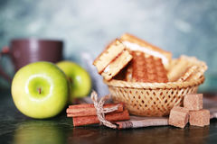 Wafer breakfast and cup of tea royalty free stock images