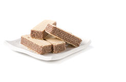 Wafer with chocolate isolated. On white background royalty free stock photography
