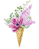 Wafer cone with flowers Royalty Free Stock Image