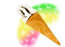 Wafer cone with ice cream Stock Photos