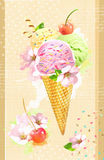 Wafer cone ice cream with cherry and flowers. Rainbow delicious ice-cream. Summer time concept. Design for flyer, poster, banner, Royalty Free Stock Photo
