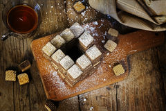 Wafer cookies built to an impossible penrose stairs Royalty Free Stock Photo