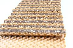 Wafer cookies with chocolate Royalty Free Stock Photos