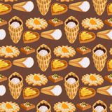 Wafer cookies seamless pattern background waffle cakes pastry cookie biscuit delicious snack cream dessert crispy bakery. Wafer cookies seamless pattern Stock Photo