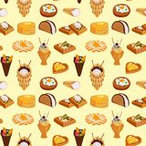 Wafer cookies seamless pattern background waffle cakes pastry cookie biscuit delicious snack cream dessert crispy bakery Royalty Free Stock Image