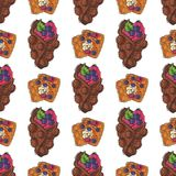 Wafer cookies waffle cakes pastry cookie seamless pattern biscuit delicious snack cream dessert crispy bakery food Stock Photo