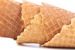 Wafer cup for ice-cream. Close up. Stock Photos