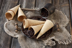 Wafer cup for ice-cream Royalty Free Stock Photography