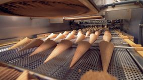 Wafer cups, ice cream cones production line. stock footage