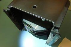 Wafer del silicone in un trasportatore nero Fotografia Stock Libera da Diritti