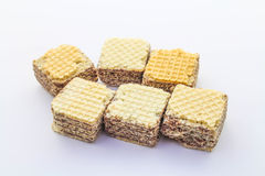 Wafer. Filled wafer cookies on white background Royalty Free Stock Image