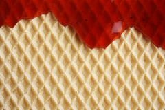 Wafer with flowing sweet sauce Royalty Free Stock Image