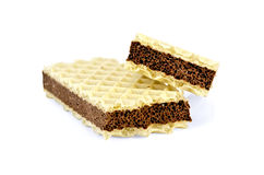 Wafer with a layer of porous chocolate Stock Images