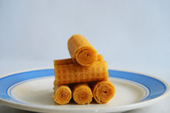 Wafer pastries. On the dish Royalty Free Stock Image