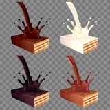 Wafer in chocolate splash 3d realistic vector set Stock Photography