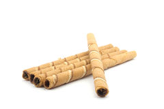 Wafer roll. Sticks cream rolls over a white background Royalty Free Stock Image