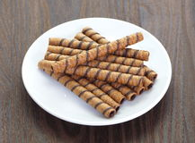 Wafer Roll. With chocolate flavour cream and cocoa coating royalty free stock photo