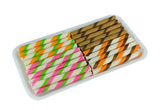 Wafer roll sticks with colorful Stock Images