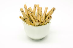 Wafer roll sticks cream rolls in a cup Stock Photography