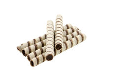 Wafer rolls with chocolate isolated Stock Photography