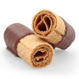 Wafer rolls with chocolate Stock Images