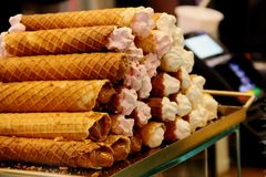 Wafer rolls with condensed milk stock images