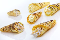 Wafer rolls with cream Royalty Free Stock Image