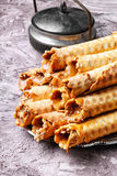 Wafer rolls with cream Royalty Free Stock Photos