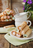 Wafer rolls with cream Stock Image