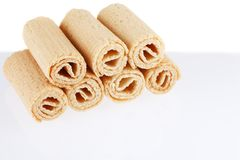 Wafer rolls. Gtoup of tasty crispy tube wafer isolated on white background. Dessert. There is some free space for your text or sign Stock Photo