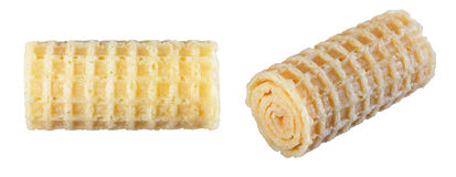 Wafer rolls isolate on a white background in various angles. Royalty Free Stock Photos