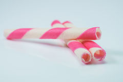 Wafer rolls strawberry pink striped Royalty Free Stock Images