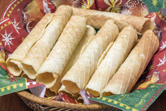 Wafer rolls on the table Royalty Free Stock Images