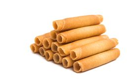 Wafer rolls. On white background stock photography