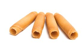 Wafer rolls. On white background royalty free stock photo