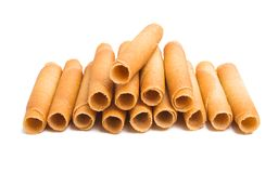 Wafer rolls. On white background royalty free stock photos
