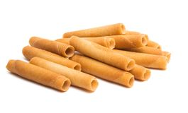 Wafer rolls. On white background stock photo
