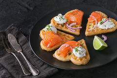 Wafer with salted salmon Royalty Free Stock Photo