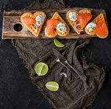 Wafer with salted salmon Royalty Free Stock Images