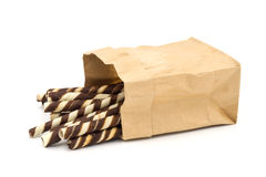 Wafer Stick in a brown bag on white background. Royalty Free Stock Images