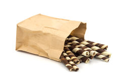 Wafer Stick in a brown bag on white background. Stock Photos