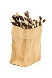 Wafer Stick in a brown bag on white background. Royalty Free Stock Photos