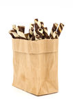Wafer Stick in a brown bag on white background. Royalty Free Stock Photo